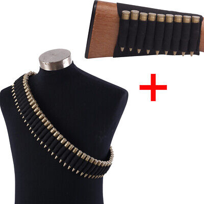 Hunting 50 9 Shell Rifle Buttstock Bullet Ammo Cartridge Bandolier for 308 cal