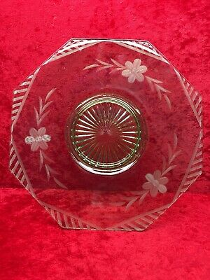 Green Octagon Depression Glass Serving Plate Floral Design
