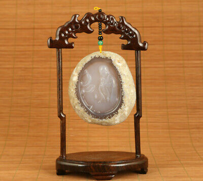 natural old agate jade hand carved blessing Buddha statue pendant table deco