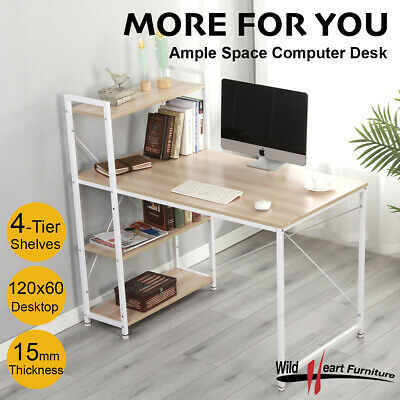 Computer Desk with Bookcase Office Home Workstation Study Table Storage