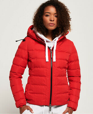New Womens Superdry SDX Arctic Hood Jacket Red