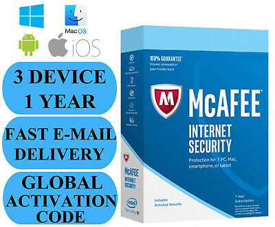 McAfee Internet Security 3 DEVICE / 1 YEAR GLOBAL KEY 2020 EMAIL ONLY NO CD!!!