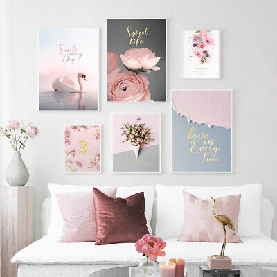 Swan Rose Flower Canvas Poster Nordic Pink Ins Style Print Wall Art Picture