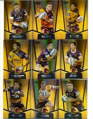 2015 NRL Elite GOLD PS Set of 9 Card Team Set - Brisbane Bronco's - NEW