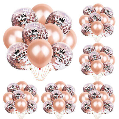 Rose Gold 16th 18 21st 30 40 50th Happy Birthday Crown Balloons Party Decoration