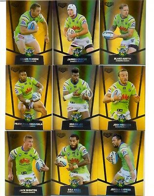 2015 NRL Elite GOLD PS Set of 9 Card Team Set - Canberra Raiders - NEW