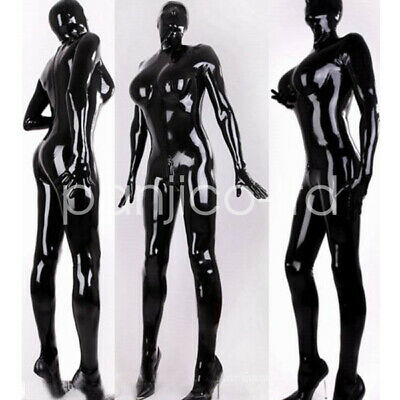 Latex Rubber Overall Latexanzug Body Zentai Kostüm Schwarz Sports Black  S-XXL