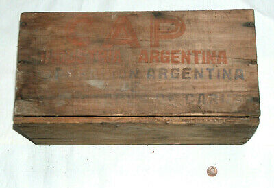 "VTG CAP Industria Argentina Compressed Cooked Corned Beef 15.5""X8""X7"" Wood Crate"