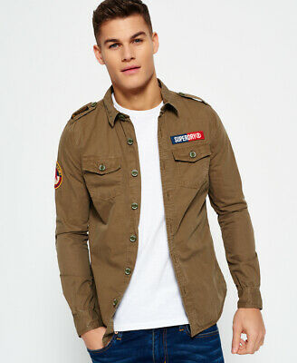 New Mens Superdry Ultra Light Army Corps Shirt Trench Army