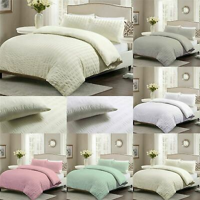 Luxury Seersucker Duvet Quilt Covers Polycotton Bedding Covers With Pillowcases