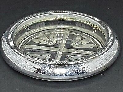 """Vintage Cavalier Sterling Silver Rimmed Glass Coaster Approx 5"""" Diameter"""