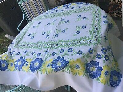 Vintage Floral Blue,Green Yellow Tablecloth  NICE!!!
