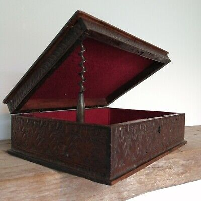 Hand Carved Box With Claret Felt Inlay