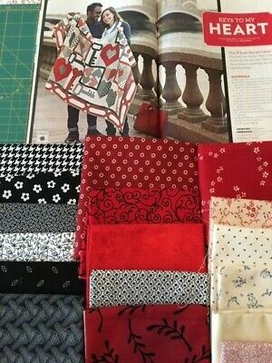 Keys To My Heart Quilt Pattern + 5 Yards Fabric, Not Complete Kit, Starter