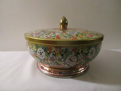 Vintage Daher Floral Round Metal Tin w/ lid Made in England