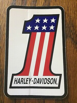 ORIGINAL Vintage Harley Davidson American Flag Number One #1 Sticker NO REPO!