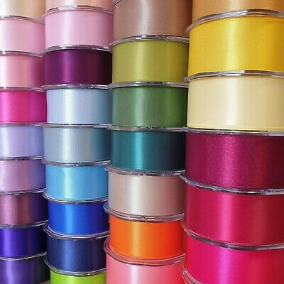 Premium Quality Double Sided Satin Ribbon 38mm Wide Solid Plain Cut Per 1 Metre