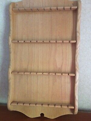 "Collector's Oak Spoon Display Rack With 36 Slots For Spoons 22""X12"" Euc Read"