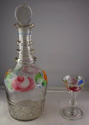 Early Blown Glass Triple Ring Neck Floral Painted Decanter + Small Wine Glass