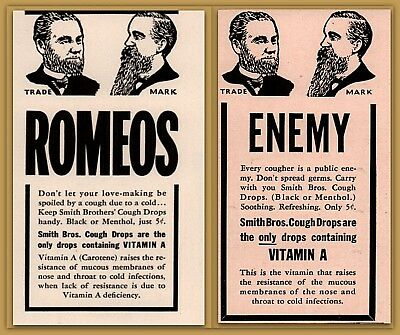 2 Early 1900's Ads Smith Brothers Cough Drops Lovemaking Cough as Enemy Health