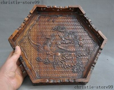 Old Chinese Huanghuali Wood Carved Phoenix Bird Food Tea Dish Plate Tray Salver