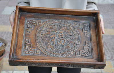 """14""""Old Chinese Huanghuali Wood Auspicious 福 Word Food Tea Dish Plate Tray Salver"""