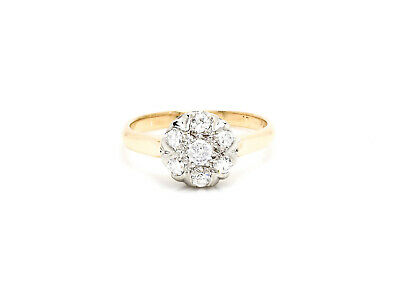 0.34 CTTW Natural Diamond 14K Yellow - White Gold, 7 Stone Art Deco Ring