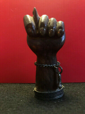 Wood Carved Hand with 900 Silver accents 18.62g tw Left Hand Mano Figa