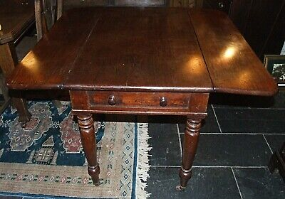 Antique Victorian large mahogany PEMBROKE TABLE drop leaf drawer