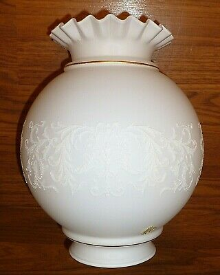 """Large White on White Ruffled Ball Shape Oil Gas or Banquet Lamp Globe 4"""" Fitter"""