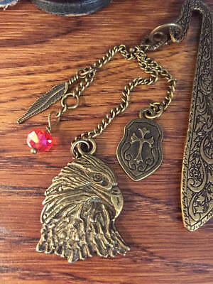 Proud Bronze Eagle Antique Style Bookmark Medieval Shield, Feather, Swarovski