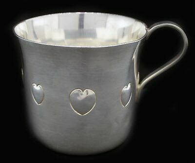 Vintage Tiffany & Co Sterling Silver Hand Chased Puffy Heart Baby Cup No Mono