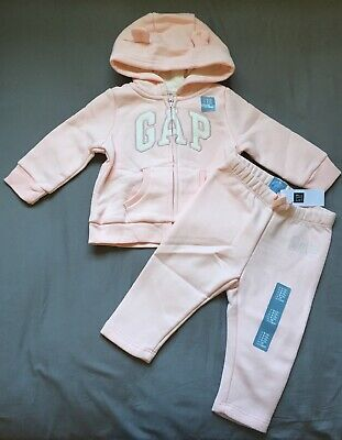 Baby Girl 6-12 Month Baby Gap Pink Arch Logo Zip Up Hoodie & Jogger Pants