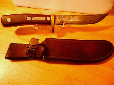 Vtg OLD TIMER Bowie Knife Full Tang Fixed Blade Schrade 165 USA w/Sheath