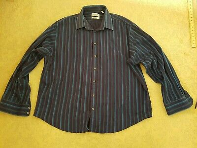 Men's Yves Saint Laurent Ysl Shirt Blue Stripes Xxl 2Xl Long Sleeves 3Xl Used