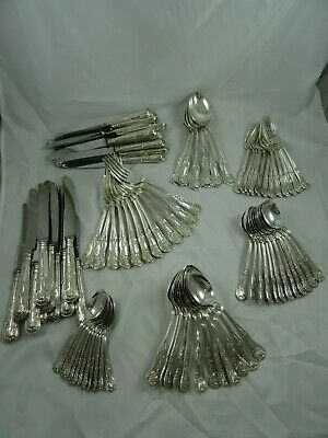 HUGE, KING`S pattern solid sterling silver CANTEEN OF CUTLERY, 1968 , 4212gm
