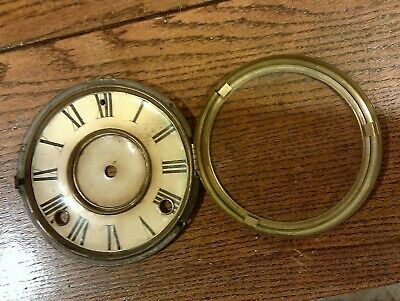 1882 ANTIQUE ANSONIA CAST IRON MANTLE table CLOCK bezel with dial