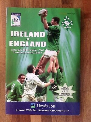 Ireland v England Rugby Union Six Nations Programme 2001