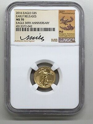 2016 American Gold Eagle $5 NGC MS70 ER 30th Ann. Miley Busiek Hand Signed