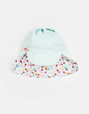 Joules Baby Sunny Reversible Hat in AQUA FLORAL STRIPE Size 1yrin2yr