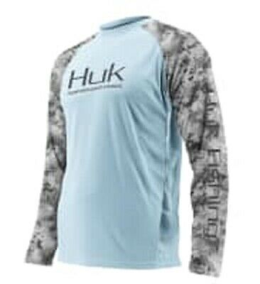 Huk Double Header Vented LS T Shirt, Ice Blue, Extra Large - H1200136-450-XL