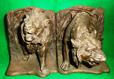 """BRADLEY & HUBBARD """"LION & LIONESS"""" BOOKENDS in CAST IRON, AMAZINGLY DETAILED...."""