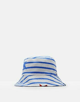 Joules Baby Brit Reversible Bucket Hat in WHITE JUMBO STAR STRIPE Size 6min12m