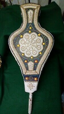 """Huge Vintage Moroccan Bellows, highly decorative embroidered leather 31"""" long"""