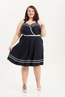 Voodoo Vixen Mid Century Deco Nautical Navy Blue Summer Swing Curvy Dress 3X