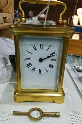Antique French Travel Brass Carriage Clock by Duverdrey & Bloquel c1910 in GWO