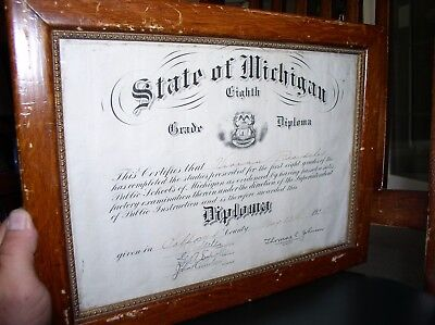 1925 Diploma, State Of Michigan, 8Th Grade Public School, Oakland County, Framed