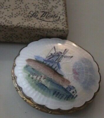 Vintage Compact Vanity Case LaMode Guilloche Enamel Beautiful