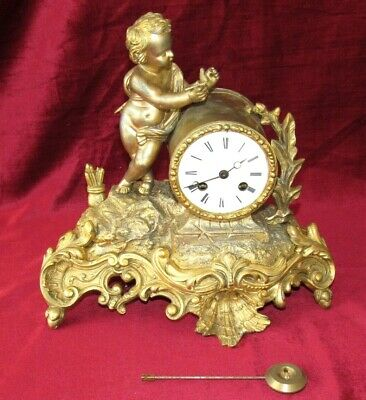 Nice French Gilt Brass Bell Striking Mantle Clock
