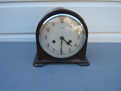 Bakelite Smiths Enfield mantel clock dome top working key & pen  striking B9